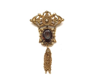 Vintage Ornate Scollwork and Filigree French Florenza Art Deoo Syle 1.  Victorian Revival Brooch