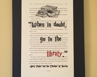 When in doubt go to the library  - Harry Potter Page Art
