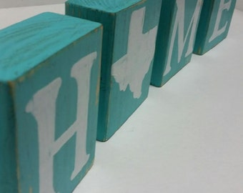 Home Wood Blocks Texas Home Decor Wood Letter Blocks Hand Painted Texas Gifts