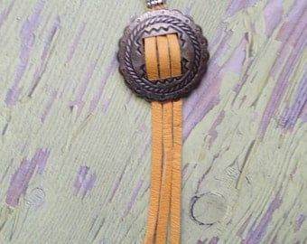Concho Necklace, Tassel Necklace, Mixed Metal Necklace, Southwestern Jewelry, Suede Necklace, Concho Suede Jewelry,