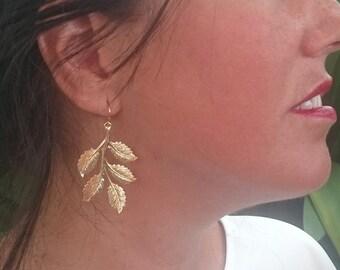 Gold Leaf Earrings Bridal Earrings Dangle Earrings Grecian Earrings Leaf Jewelry Wedding Jewelry Woodland Wedding Earrings