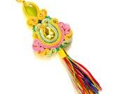 Rainbow pendant, colorful pendant, soutache pendant, boho pendant, statement pendant, tassel pendant, pink pendant, gren endant, pastel boho
