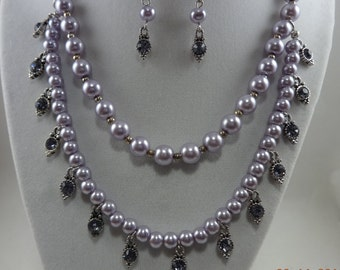 Double Strand Violet Pearls and Amethyst Crystal Necklace, Bracelet, and Earrings