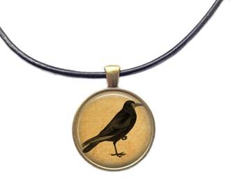 Bird pendant Vintage jewelry Crow necklace