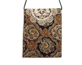 Doily crossbody bag, quilted crossbody bag, earth tone purse, handmade, shabby chic bag, hip bags and purses, fabric crissbody handbag