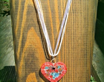 Milleflori Glass Heart Necklace - Red, White, and Blue Heart Pendant
