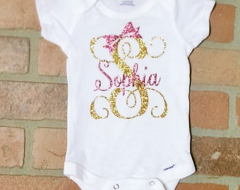Glitter Name Monogram Onesie with Bow. Personalized onesie. Baby Girl Custom Onesie. Name with heart onesie.