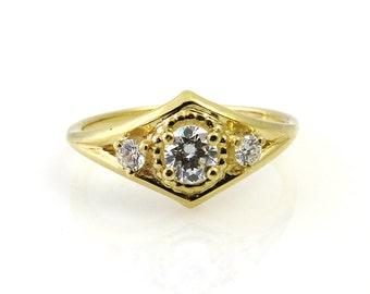 Unique engagement ring, 14k gold engagement ring, Diamond engagement ring, Vintage engagement ring, Engagement diamond ring, Unique diamond