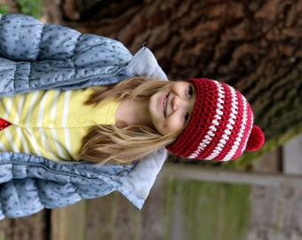 Girls Hat, Kids Hat, Children Beanie, Hat for Girls, Striped Hat, Pom Pom Hat,  Where's Waldo Hat, Where's Wally Hat