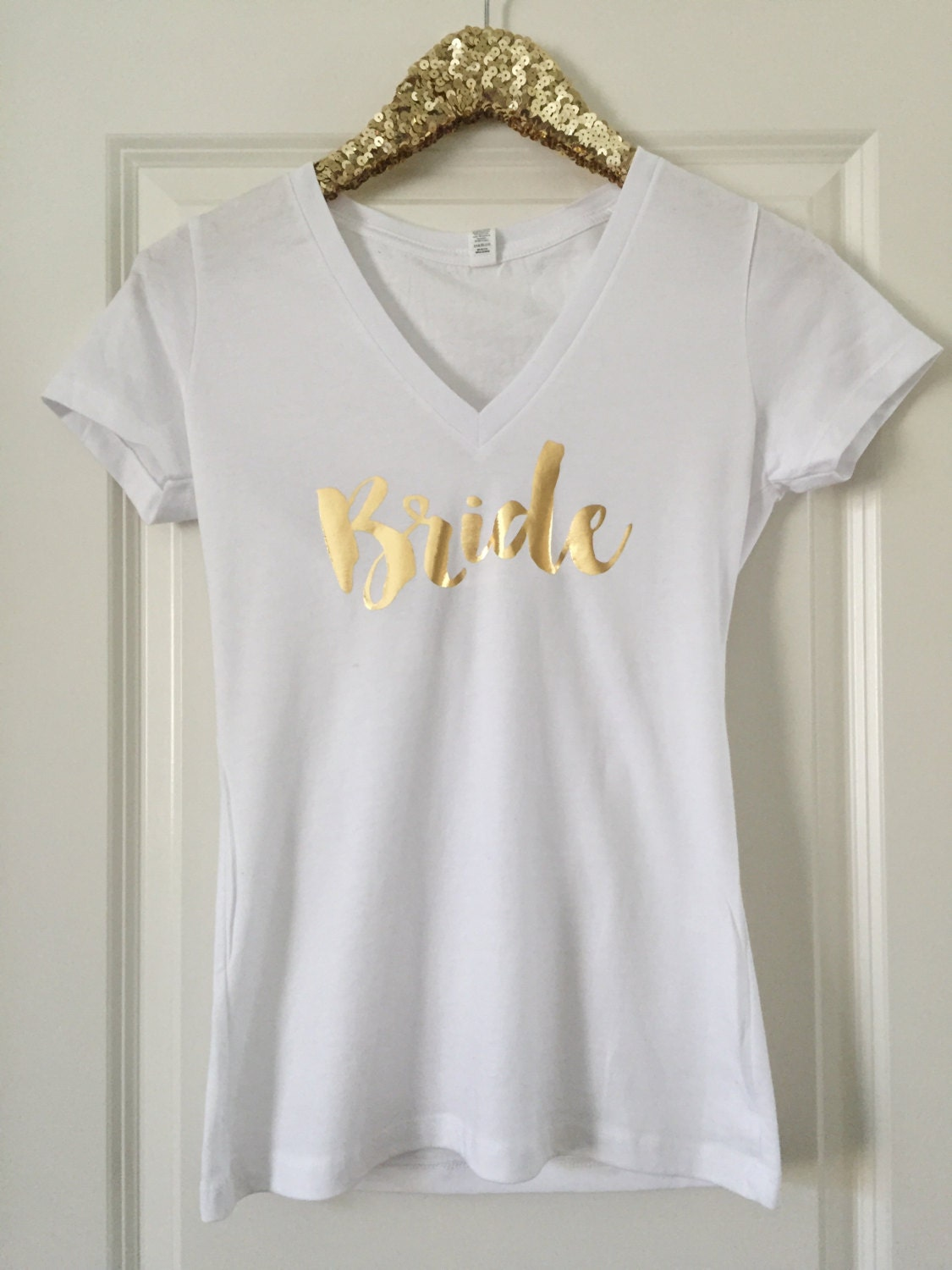 Bride deep v neck fitted tee gold foil birthday for Custom deep v neck t shirts
