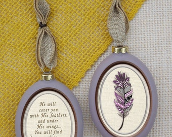 Inspirational Feather Ornament with Psalm 91:4 on the Front
