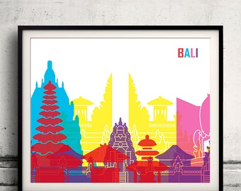 Bali pop art skyline - Fine Art Print Glicee Poster Gift Illustration Pop Art Colorful Landmarks - SKU 1982