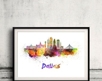 Dallas skyline in watercolor over white background with name of city - Poster Wall art Illustration Print - SKU 2067