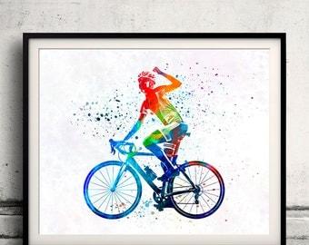Woman triathlon cycling 03 - poster watercolor wall art splatter sport illustration print Glicée artistic - SKU 2156