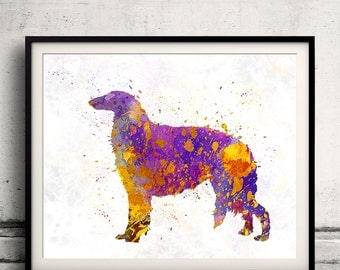 Borzoi 01 in watercolor 8x10 in. to 12x16 in. Fine Art Print Glicee Poster Decor Home Watercolor Illustration Dog Russian Wolfhound-SKU 1015