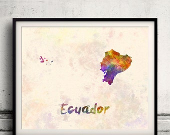 Ecuador - Map in watercolor - Fine Art Print Glicee Poster Decor Home Gift Illustration Wall Art Countries Colorful - SKU 1726