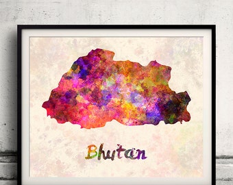 Bhutan - Map in watercolor - Fine Art Print Glicee Poster Decor Home Gift Illustration Wall Art Countries Colorful - SKU 1812