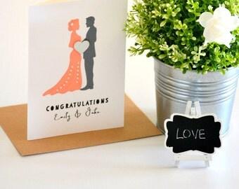 Bride and Groom Greeting Card, Custom Wedding Card For Bride and Groom, Newlyweds Wedding Card, Wedding Congratulations Card, Peach Wedding