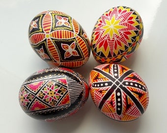 Set of 4 Hand Painted Wooden Easter Eggs at shell, Ukrainian Pysanka, Easter Decor