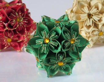 Dark Green & Gold Glitter Ornament - Origami Kusudama Flower Ball - Christmas Ornament - Teacher Gift - Holiday Decoration