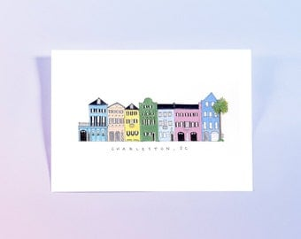 "Rainbow Row - Charleston, South Carolina - Illustrated Watercolor Print - 9x12"""