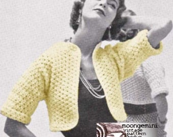 PDF Brief Bolero Shrug Shortie Sweater Crochet Pattern Instant Download