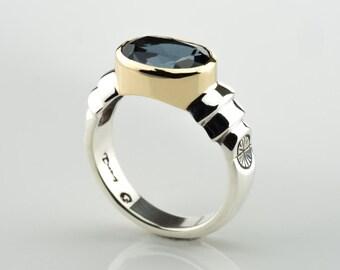 London blue Topaz ring, Silver blue topaz ring, Silver blue gemstones, Silver and gold rings, London blue Topaz, silver blue gemstone rings