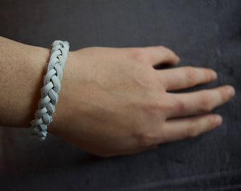 Braided White Leather Bracelet