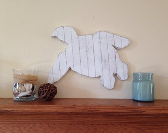 On Sale! Wooden Turtle, Rustic White Pallet Turtle, sea turtle, surf decor, turtle sign, pallet beach decor