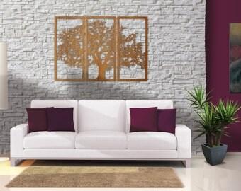 Cherry Tree of Life - 3D 3 Panel Tree Wood Wall Art - Beautiful Tree Living Room Large Wall Art Decor