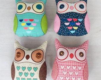 FREE SHIPPING Owl Pillow, Stuffed owl, Animal Pillow, Nursery Decor, Soft Toy, Plush Toy, Kids Room Decor, Owl Cushion, Decorative Pillow