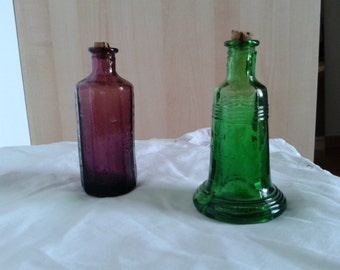 Wheaton bottle, vintage glass, reproduction, 1970s, vintage bottles, green glass, glass bell, miniature bottles, retro glass, Americana