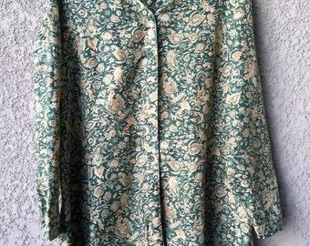 Green floral Elisabeth silk top