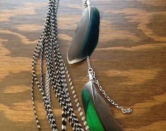 Natural Grizzly feathers earring - Rooster and Duck