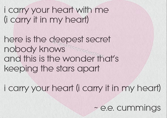 I Carry Your Heart E E Cummings Instant Download