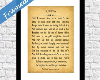Poem Print Framed William Shakespeare Sonnet 18 Poem Gift for Wife Anniversary Gift Gift for Girlfriend Poetry Wall Art Poetry Print