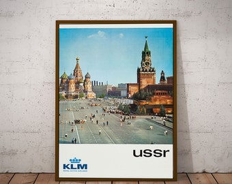 Russia Travel Poster Vintage KLM Airlines Moscow Travel Print