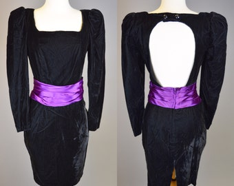 80s Prom, Black Velvet, Prom Dress // Vintage 1980s, Cocktail Party, Purple Sash, Women's Size Small, X Small