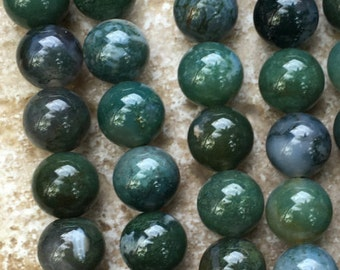 "Moss Agate Beads - 12mm Round Moss Agate Beads, Natural Gemstone Beads - FULL 16"" strand (about 34 beads) - G848"
