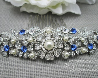 Bridal Hair Comb Blue Wedding Accessory Sapphire Crystal Swarovski Ivory Pearl Bridal Hair Clip Leaf Hair Comb Flower Bridal Hair comb Donna