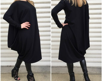 Black Asymmetric Dress / Long Sleeves Sleeves Elegant Dress / Extravagant Jersey Dress / Oversize Women Dress / EXPRESS SHIPPING / LA 4005