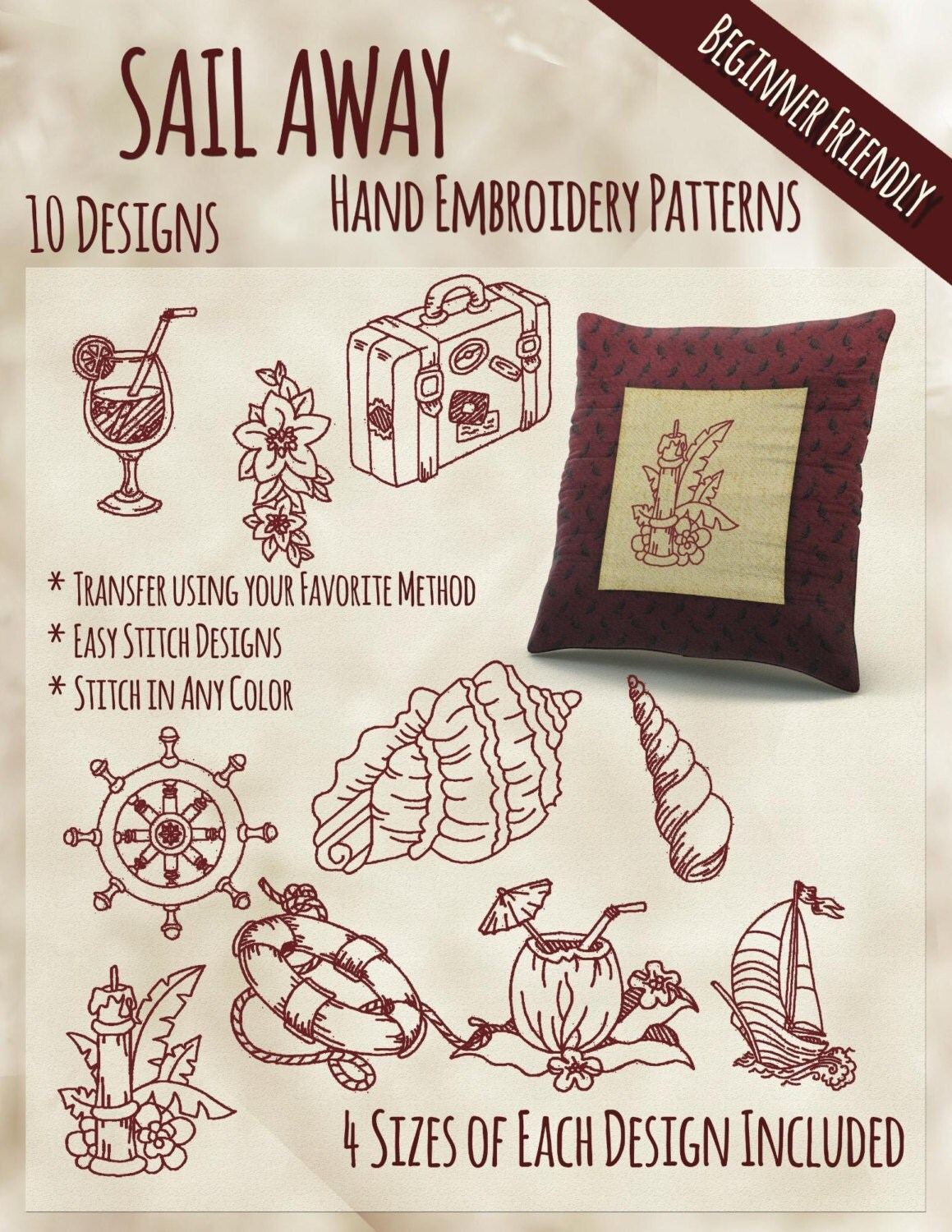 Sale hand embroidery patterns sail away redwork in 4 sizes pdf zoom bankloansurffo Gallery