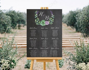 Personalised Printable Wedding Seating Chart, Wedding Table Plan - Floral Wreath Collection