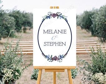 Personalised Printable Wedding Sign, Blue Floral, PDF