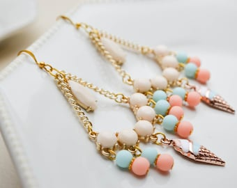 Earrings chandeliers - pastel colors - blue - pink - cream - gold -doré - ice cream charms