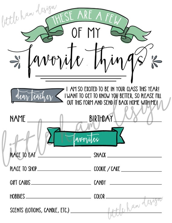 Printable Teacher S Favorite Things Few Of My By