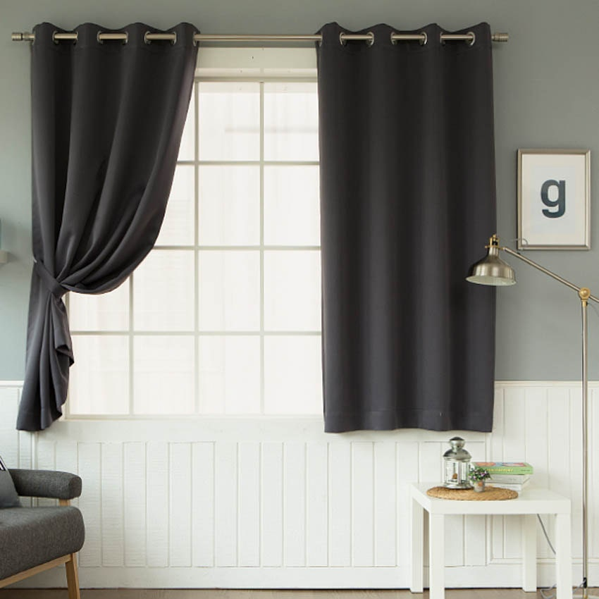 dark grey solid curtains eyelet grommet curtains pair for