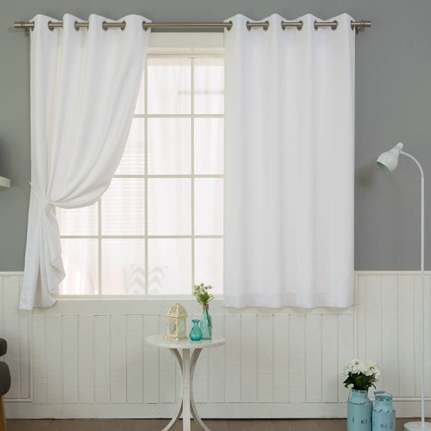 white solid curtains grommet 1pair