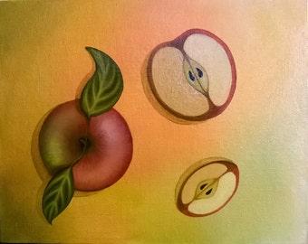 Red Apple Original Oil Painting 8x10