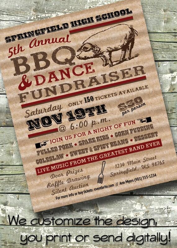 bbq pig roast fundraiser neighborhood block party 5x7